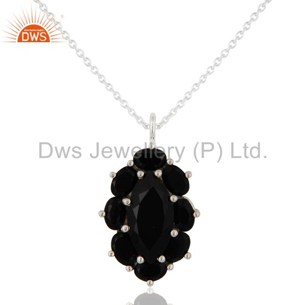 925 Sterling Silver Solitaire Black Onyx Gemstone Pendant Necklace