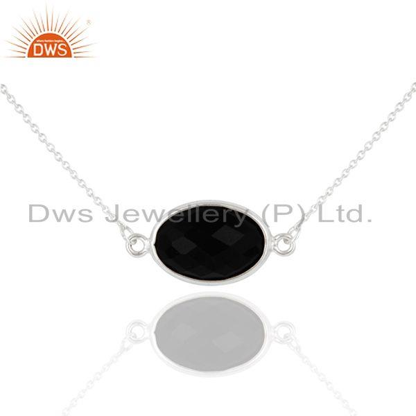 925 Sterling Silver Black Onyx Faceted Gemstone Pendant Chain Necklace