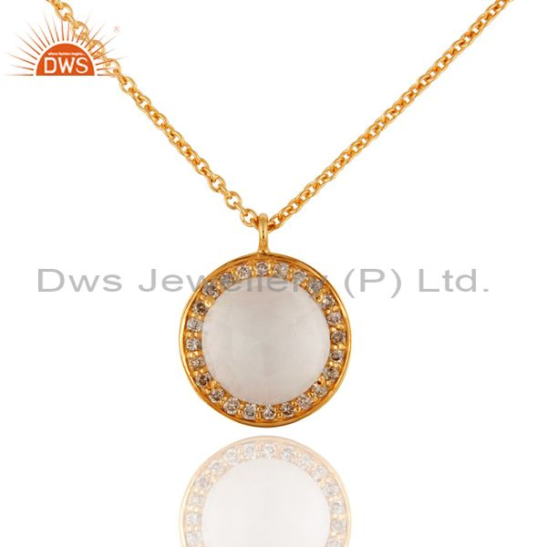 18K Solid Yellow Gold Natural Crystal Quartz And Diamond Pendant With Chain
