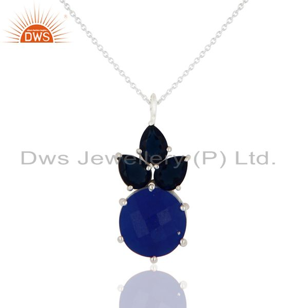 Blue Corundum And Aventurine Gemstone Sterling Silver Pendant With Chain