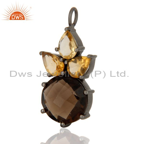 Smoky Quartz And Citrine Cluster Gemstone Pendant In Oxidized Sterling Silver