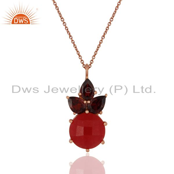 18K Rose Gold Plated Sterling Silver Garnet And Red Aventurine Pendant Necklace