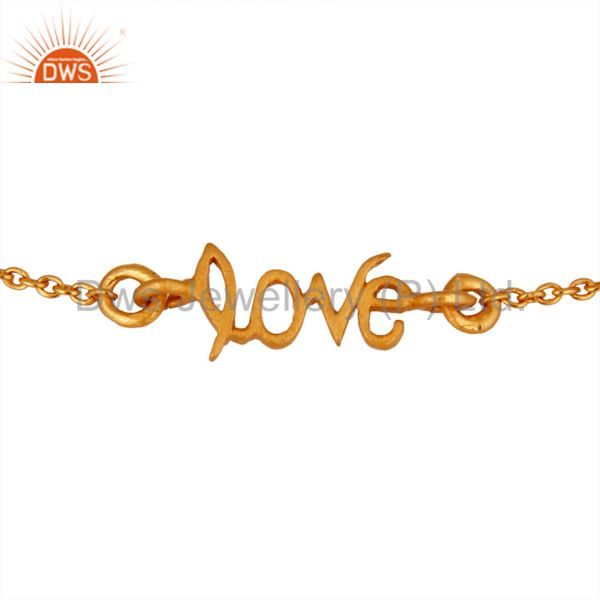 18K Yellow Gold Plated Handmade Love Link Chain Bracelet With Lobster Loc