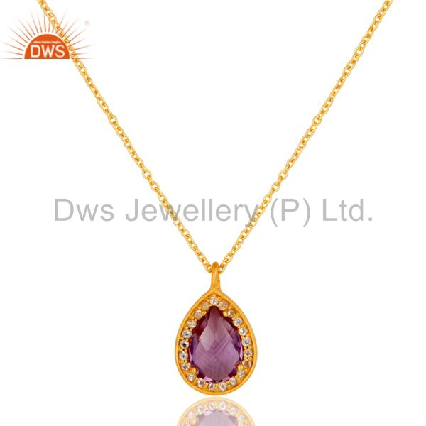 22K Gold Plated 925 Sterling Silver Amethyst Chain Pendant Necklace Jewellery