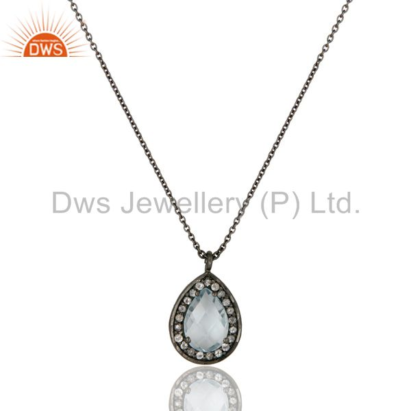 Oxidized Sterling Silver Blue Topaz And White Topaz Pendant With Chain Necklace