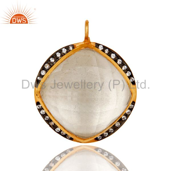18K Yellow Gold Plated Sterling Silver Crystal Quartz And Cubic Zirconia Pendant