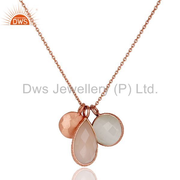 Moonstone Rose Chalcedony 18K Rose Gold Plated Sterling Silver Chain Pendant