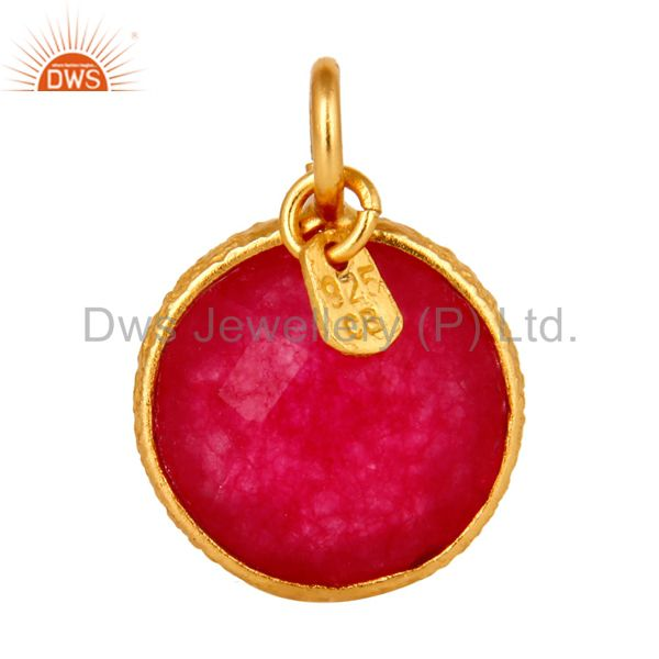 18K Yellow Gold Plated Sterling Silver Red Chalcedony Bezel Set Charm Pendant