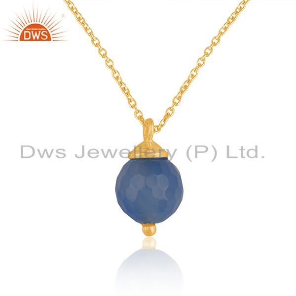 92.5 Silver Yellow Gold Plated Blue Chalcedony Gemstone Chain Pendant Wholesale