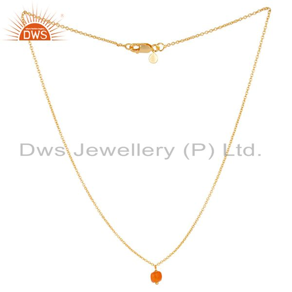 Natural Carnelian 5 MM Cushion Briolet Gemstone Gold Plated Silver Chain Pendent