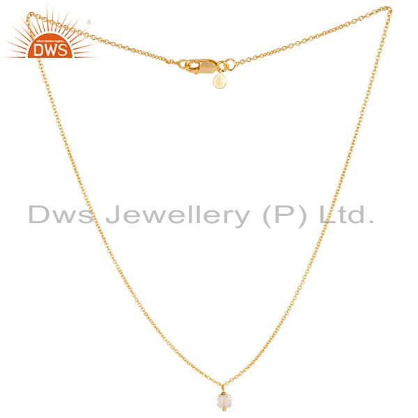 Healing Crystal 5 MM Cushion Briolet Gemstone Gold Plated Silver Chain Pendent