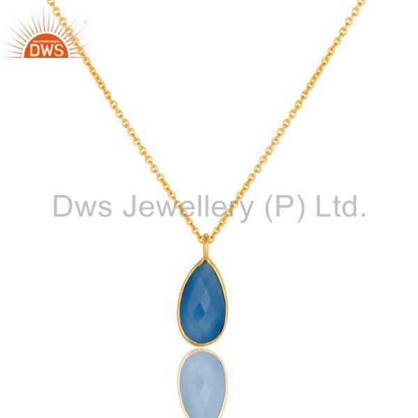 18K Yellow Gold Plated Sterling Silver Blue Chalcedony Bezel Drop Pendant Chain