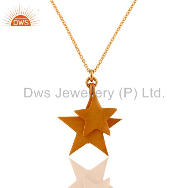 18K Yellow Gold Plated Sterling Silver Star Charms Pendant With Chain
