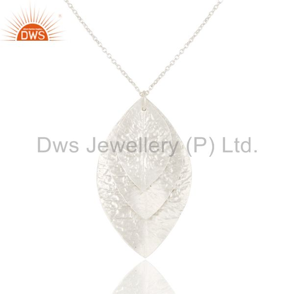 Handcrafted Solid 925 Sterling Silver Three Petal Pendant With Chain Necklace