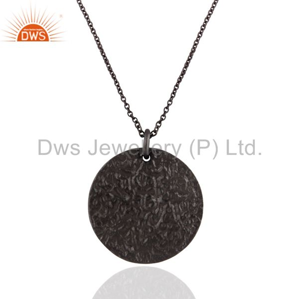 """Black Rhodium Plated Sterling Silver Circle Pendant With 16"""" Inch Chain"""