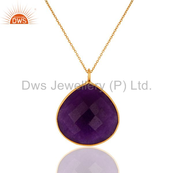 18K Gold Over Sterling Silver Faceted Purple Chalcedony Bezel Set Pendant