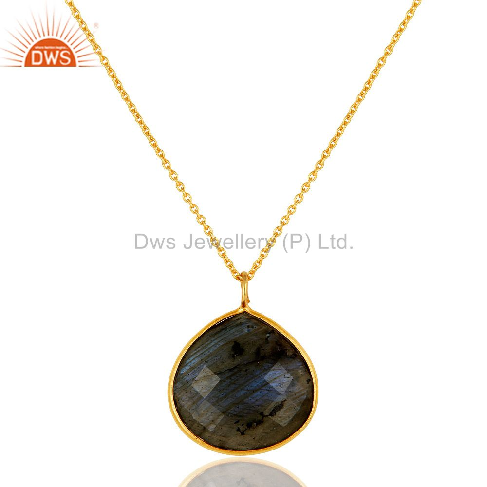 18K Gold Plated Sterling Silver Labradorite Bezel Set Pendant With Chain