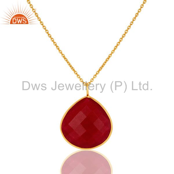 18K Gold Plated Sterling Silver Red Aventurine Bezel Set Drop Pendant With Chain