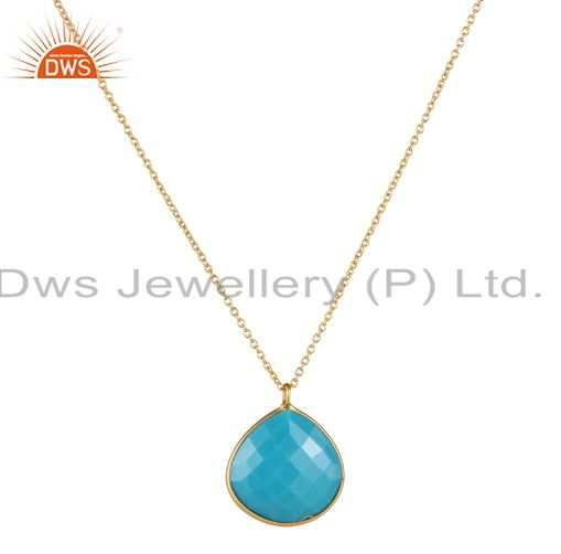18K Gold Plated Sterling Silver Faceted Turquoise Bezel Set Pendant With Chain