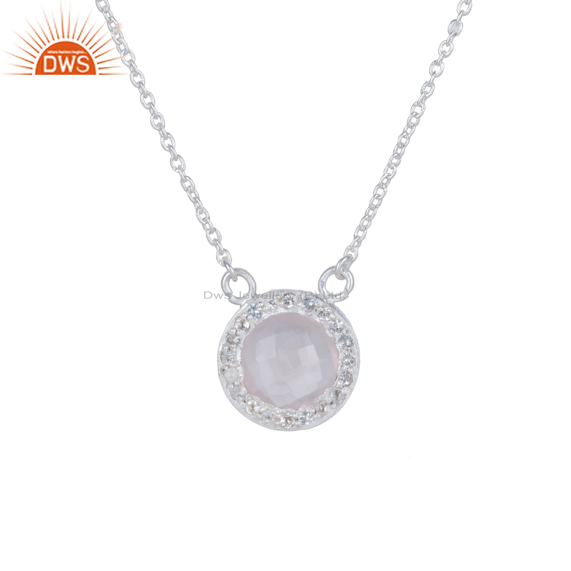 925 Sterling Silver Rose Chalcedony And White Topaz Halo Pendant Chain Necklace