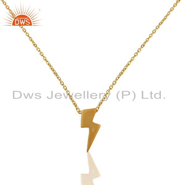22K Yellow Gold Plated Sterling Silver Pendant With Chain Necklace