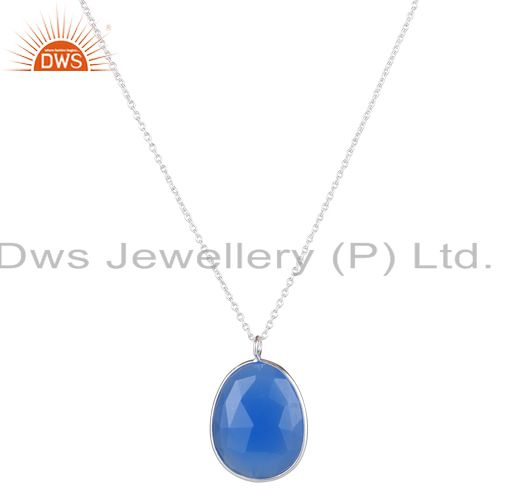 Handmade Solid Sterling Silver Blue Chalcedony Bezel Set Pendant With Chain