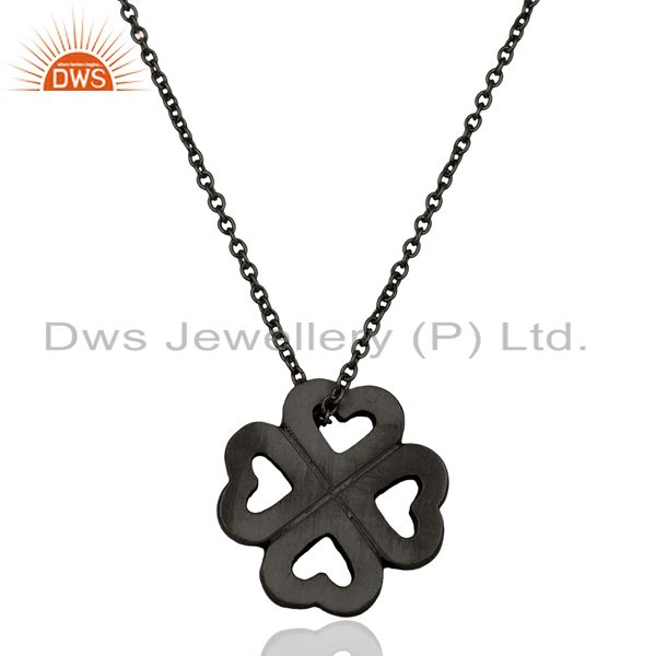 Handmade 925 Sterling Silver Oxidized Heart Design Pendant With Chain Necklace
