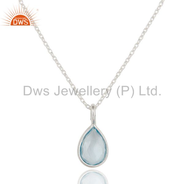 925 Sterling Silver Blue Topaz Bezel Set Gemstone Drop Pendant With Chain