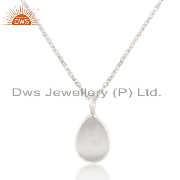 Solid 925 Sterling Silver White Moonstone Bezel Set Drop Pendant With Chain