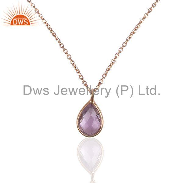 Amethyst Gemstone 925 Silver Rose Gold Plated Chain Pendant Wholesale
