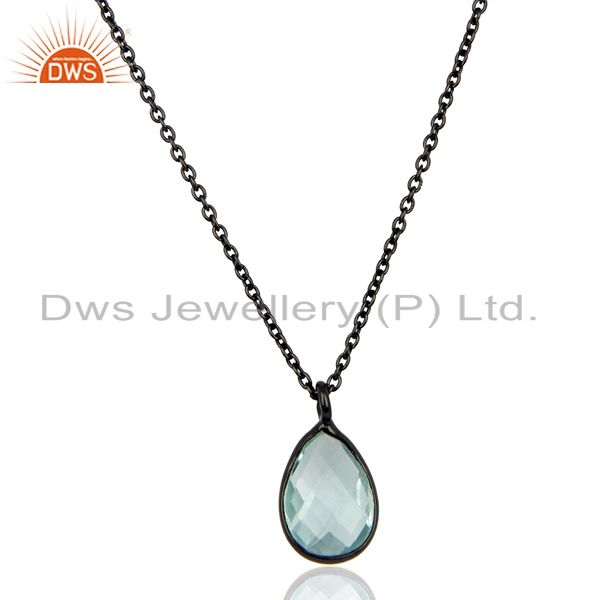 Black Oxidized 925 Sterling Silver Blue Topaz Bezel Set Drops Chain Pendant