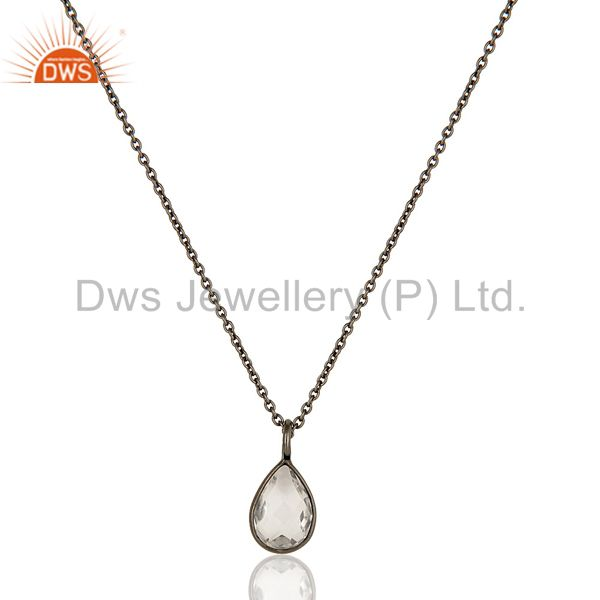 Natural Crystal Quartz Rhodium Plated Sterling Silver Drop Pendant With Chain