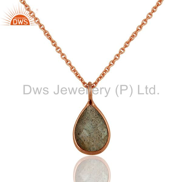 18K Rose Gold Plated Sterling Silver Labradorite Bezel Set Pendant With Chain