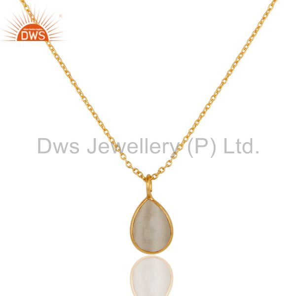 925 Sterling Silver White Moonstone Bezel-Set Pendant With Gold Plated
