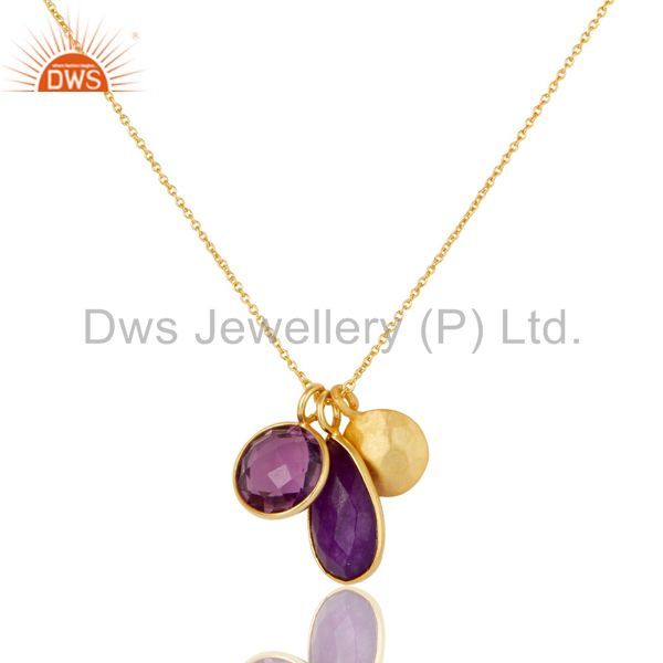 18K Yellow Gold Plated Sterling Silver Amethyst And Purple Chalcedony Necklace