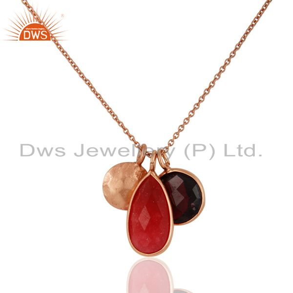 18K Rose Gold Over Sterling Silver Red Aventurine And Garnet Chain Necklace