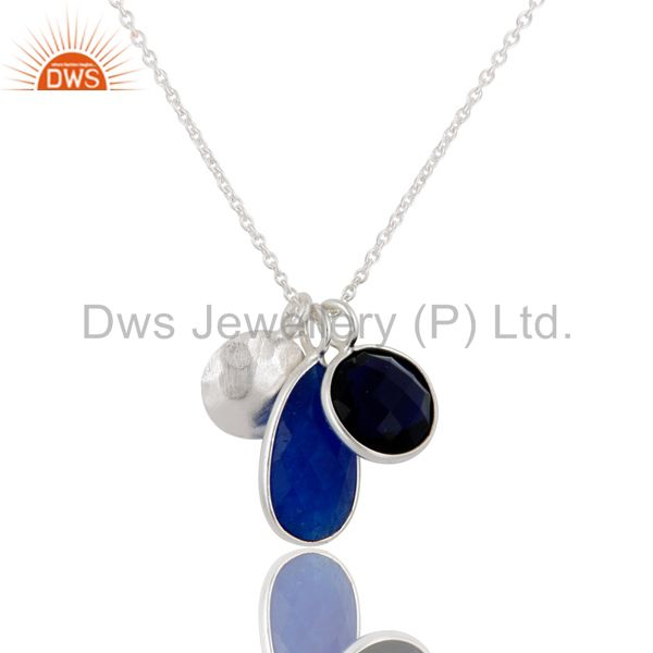 Faceted Blue Aventurine And Corundum Bezel-Set Sterling Silver Pendant With Chai