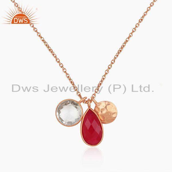 Pink Chalcedony and Crystal Quartz Rose Gold Plated 925 Silver Pendant Wholesale