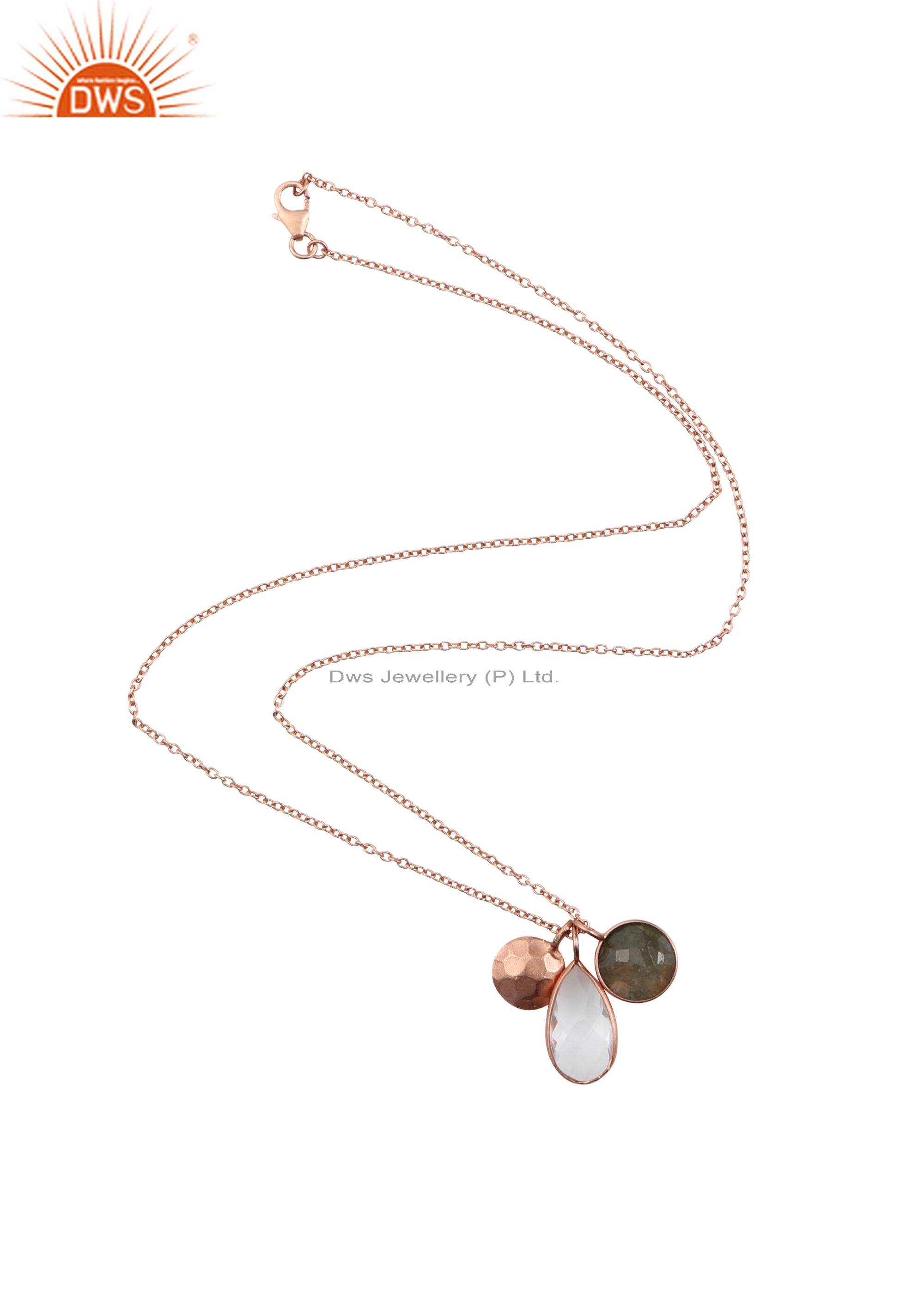18K Yellow Gold Plated 925 Sterling Silver Smoky Quartz & Crystal Chain Pendant