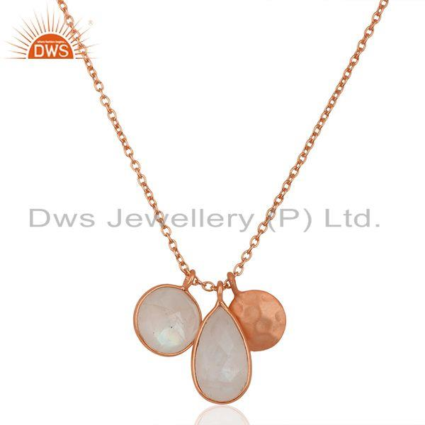 Rainbow Moonstone Rose Gold Plated 925 Silver Chain Pendant Manufacturer India