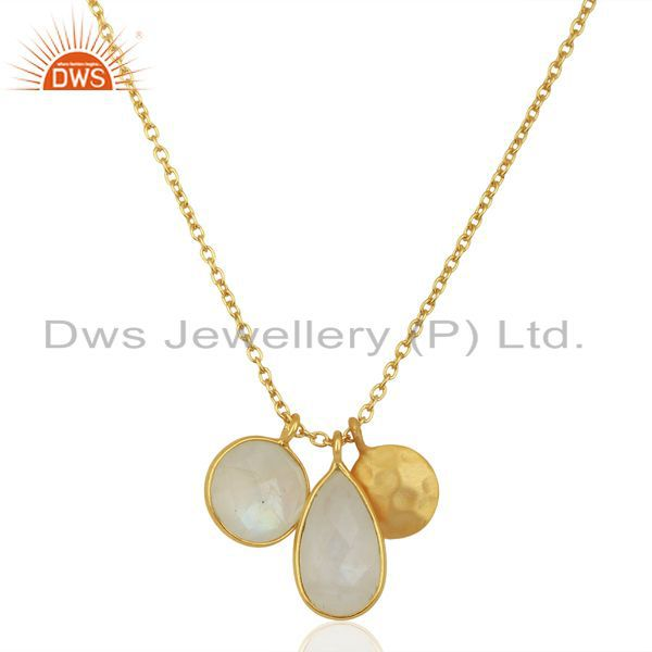 Rainbow Moonstone Multi Stone 14K Gold Plated Sterling Silver Chain Pendant