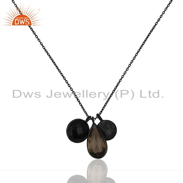 925 Sterling Silver Black Rhodium Plated Chain Pendant Wholesale