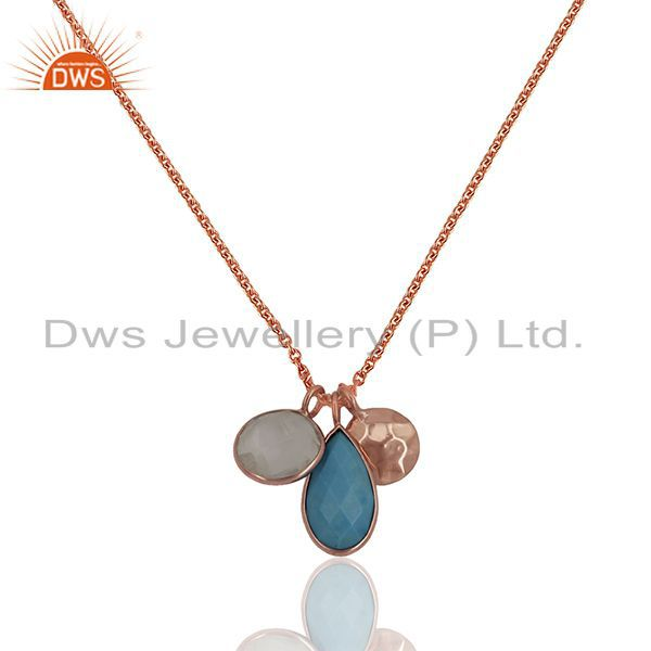 Solid Silver Rose Gold Plated Multi Gemstone Charm Pendant Wholesale