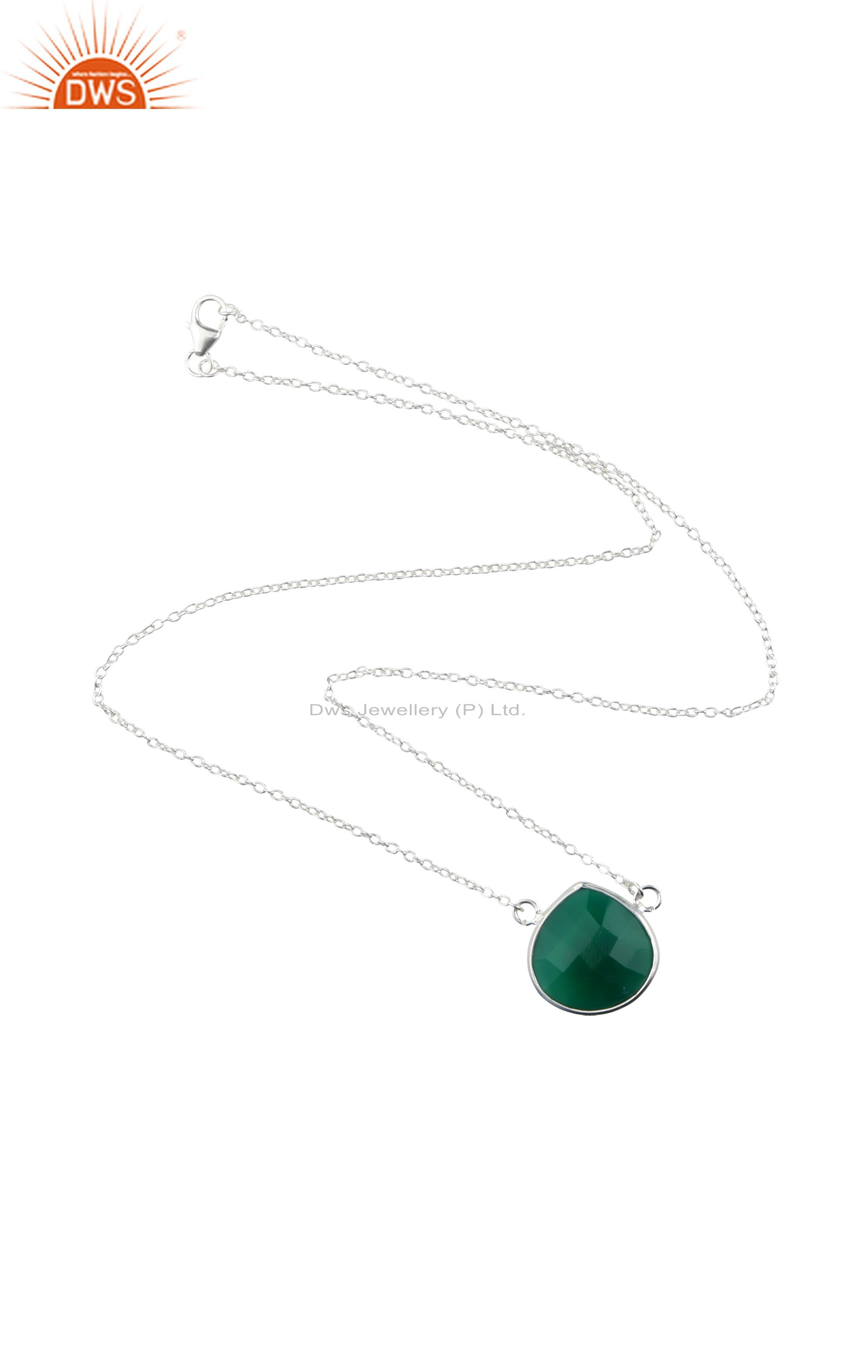 Handmade Sterling Silver Natural Green Onyx Faceted Gemstone Necklace