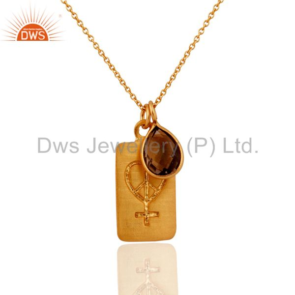 18K Yellow Gold Plated Sterling Silver Smoky Quartz Pendant Bezel With Chain