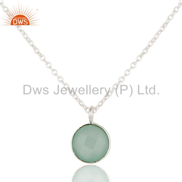 Solid Silver Plated Faceted Dyed Blue Chalcedony Bezel-Set Brass Chain Pendant