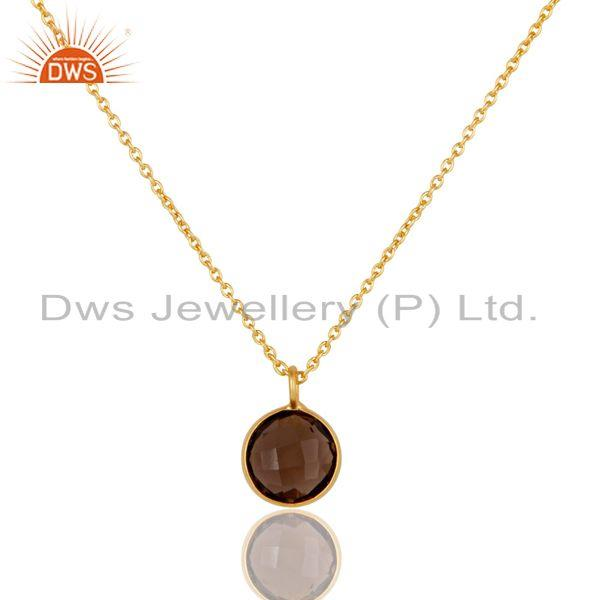 "18K Yellow Gold Plated Brass Smoky Quartz Bezel Set Pendant With 16"" Inch Chain"