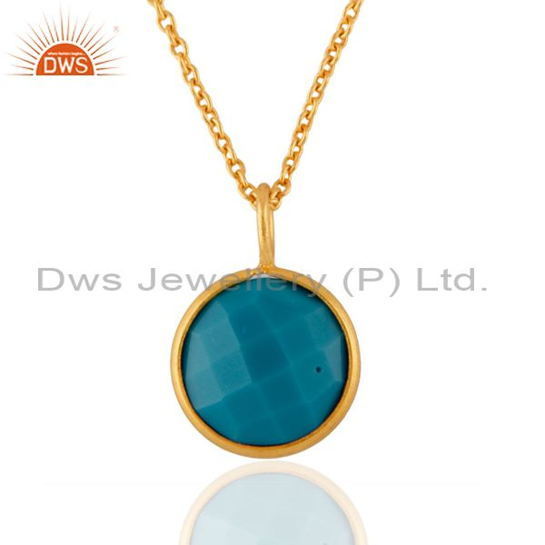 Natural Turquoise Gemstone Checkerboard cut Round 18K Gold Plated Jewelry
