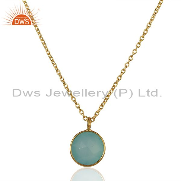 Gold Plated 925 Sterling Silver Aqua Chalcedony Gemstone Pendant