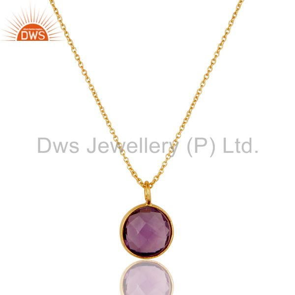 18k Yellow Gold Plated Sterling Silver Round Set Amethyst Pendant Chain Necklace